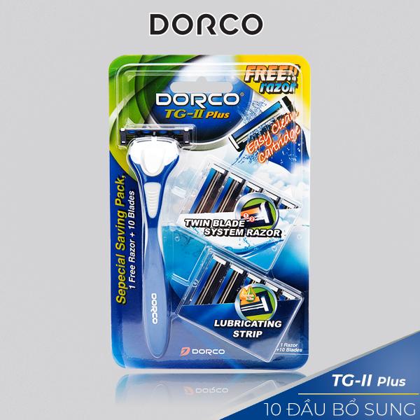 Dao cạo râu 2 lưỡi DORCO TG-II Plus System + 10 đầu thay thế giá rẻ
