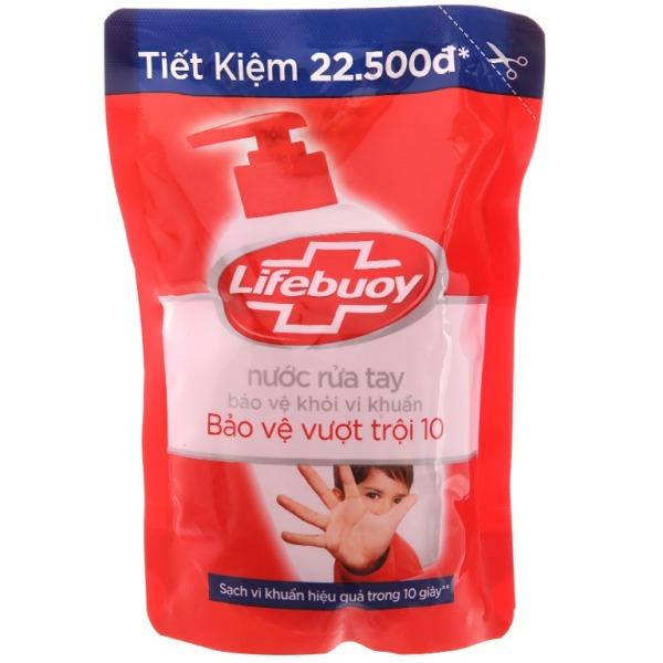(túi đẹp - 450g) Nước rửa tay Lifebuoy Bảo vệ vượt trội 10