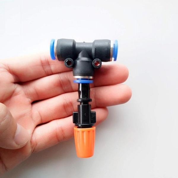 10 béc phun sương đơn nối ống hơi 8mm Hãng sản xuất: Trung Quốc Béc có thể điều chỉnh được Hai loại: Có kèm van áp chống nhỏ giọt khi ngắt nước hoặc không Màu sắc: Cam