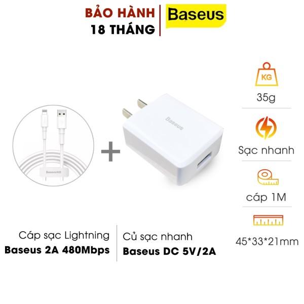 Bộ cốc cáp sạc chuẩn lightning Baseus sạc cho iphone CCDX-A02 max 2A - dây dài 1m truyền dữ liệu (Trắng) HÀNG CHÍNH HÃNG abshop