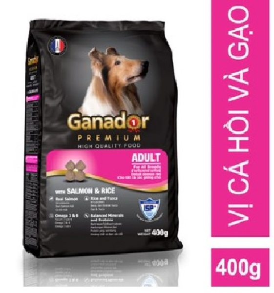 Hanpet-  Thức ăn cho chó trưởng thành vị Cá Hồi và Gạo - Ganador Adult Salmon - Rice 400g