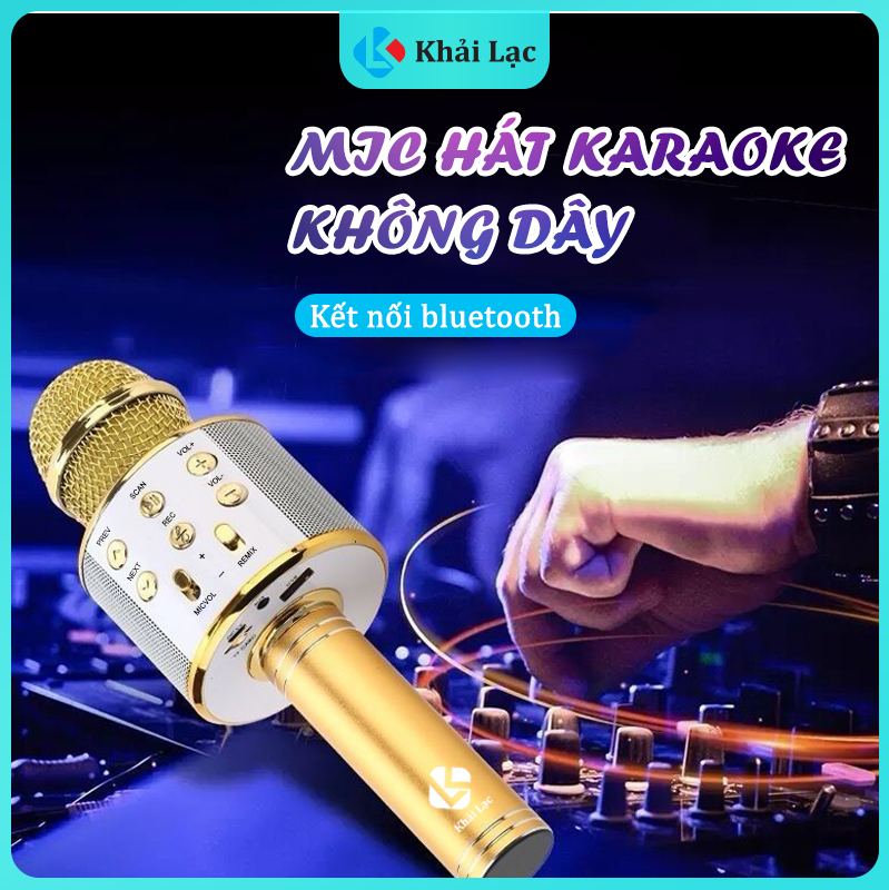 WS-858 Mic Hát Karaoke Bluetooth Không Dây Kèm loa Âm vang Ấm mic hát karaoke cầm tay mini micro hát trên xe hơi mic hát karaoke hay nhất hiện nay