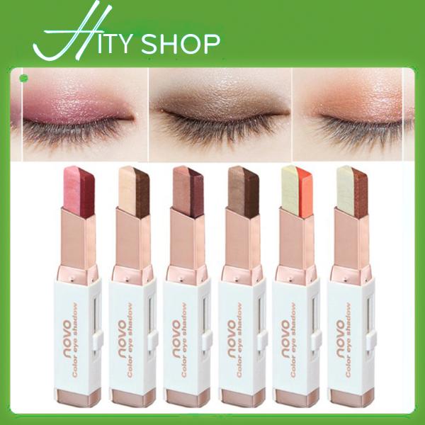 Bút sáp màu mắt NOVO Eyeshadow Double Color Grandient Stick (Phấn mắt NOVO dạng thỏi 2 màu có ánh nhũ) giá rẻ