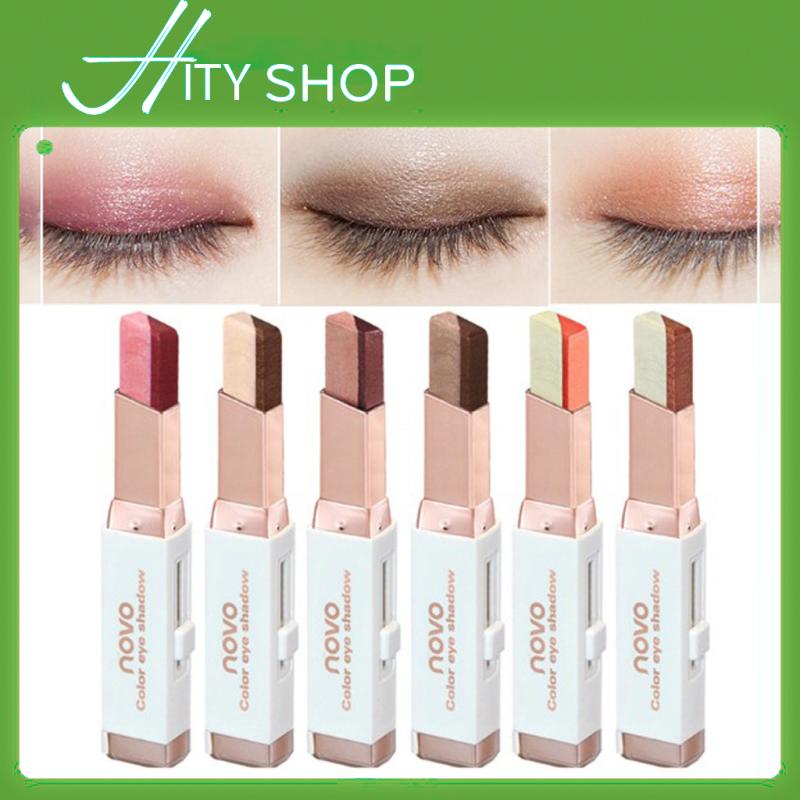 Bút sáp màu mắt NOVO Eyeshadow Double Color Grandient Stick (Phấn mắt NOVO dạng thỏi 2 màu có ánh nhũ)