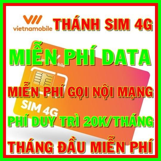 Voucher Khuyến Mại Thánh Sim 4G Vietnamobile Mới Gói Cám Ơn Miễn Phí DATA Không Giới Hạn + Nghe Gọi Và Nhắn Tin Nội Mạng Miễn Phí - Phí Duy Trì 20k/tháng - Shop Sim Giá Rẻ