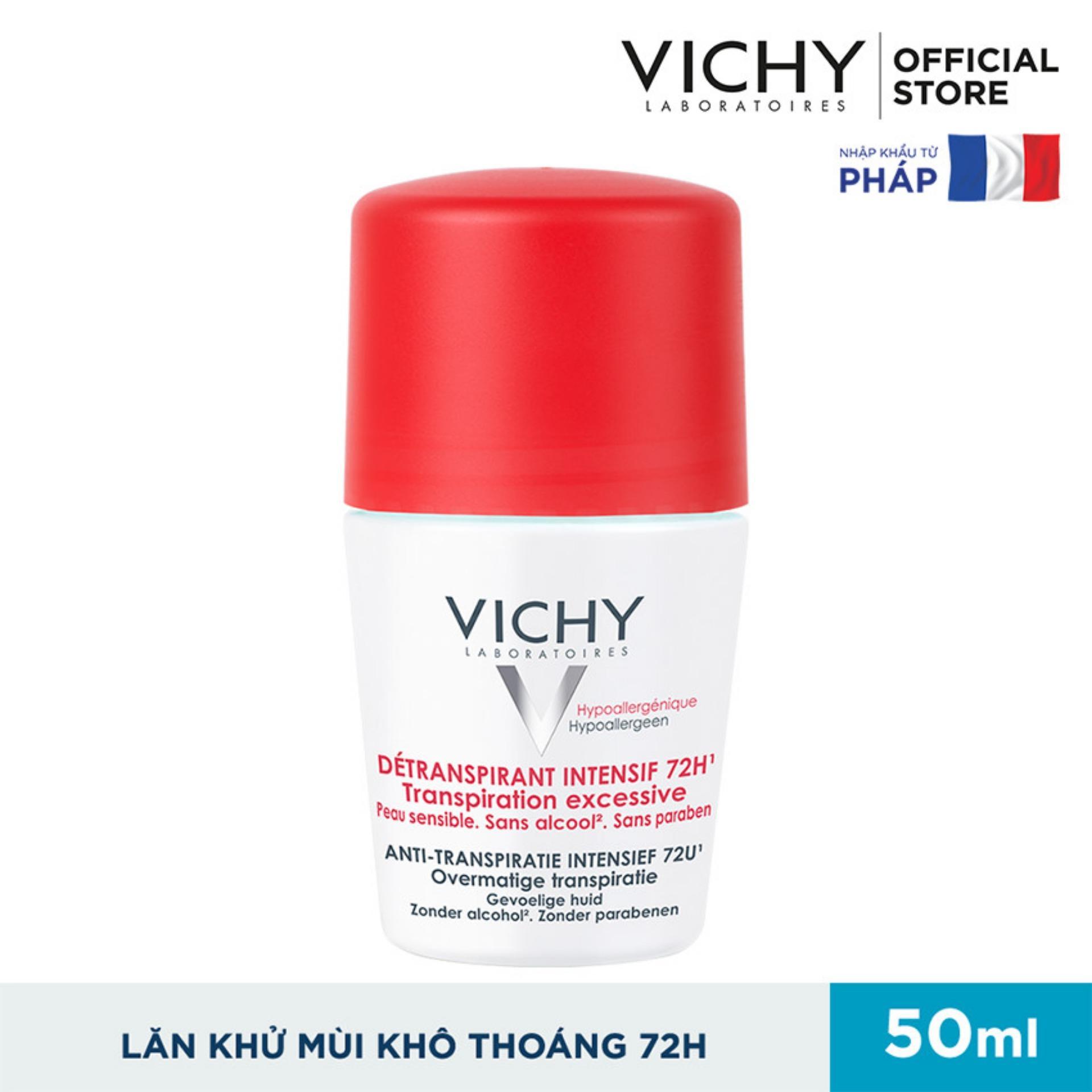 Lăn khử mùi giúp khô thoáng vùng da dưới cánh tay 72h Vichy Detransprirant Intensif 72h Transpiration Excessive 50ml nhập khẩu