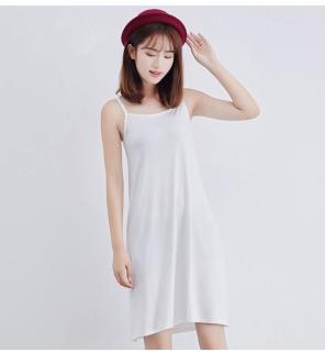 [Kèm video] Váy hai dây - Váy mặc lót thun cotton VNN-0044N (Trắng) thumbnail
