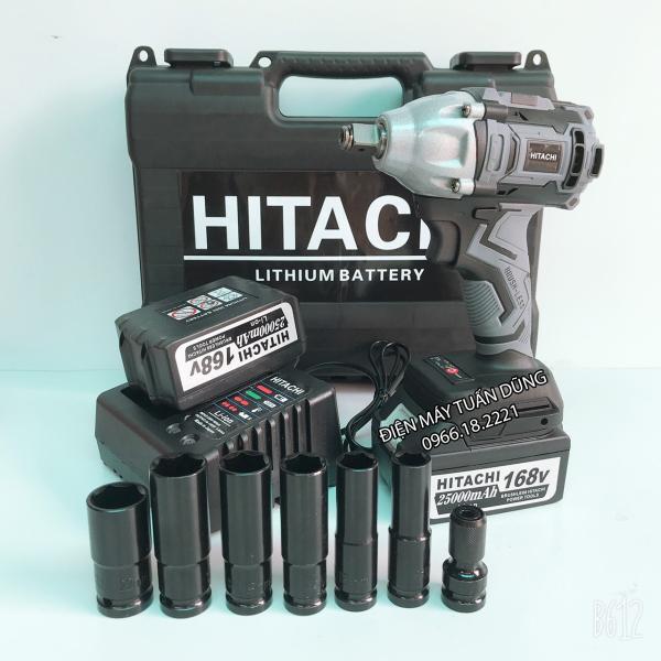 Máy siết bulong pin Hitachi 168V Không Chổi Than KÈM 5 KHẨU DÀI VÀ 1 ĐẦU CHUYỂN VÍT