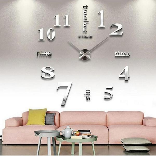 Đồng hồ dán tường châu âu DIY 3D trang trí cao cấp loại lớn size 90 đến 130cm bán chạy