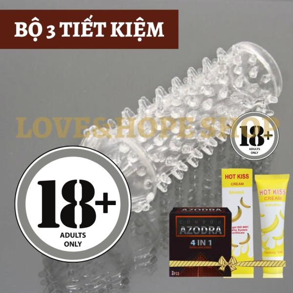 Combo bao cao su đôn ba TẶNG KÈM bao Azodra 4in1 3s và gel Hot Kiss Cherry hương chuối 30ml [BỘ 3 TIẾT KIỆM] - 1 Set - LHS cao cấp