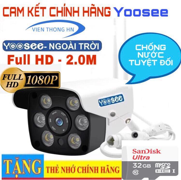 [CÓ MẦU BAN ĐÊM] camera wifi 2.0 ngoài trời - trong nhà camera yoosee 2.0 Mpx full hd 1080p - hỗ trợ 2 đèn hồng ngoại và 4 đèn LED + kèm thẻ nhớ 32gb - NEW Nhật Bản