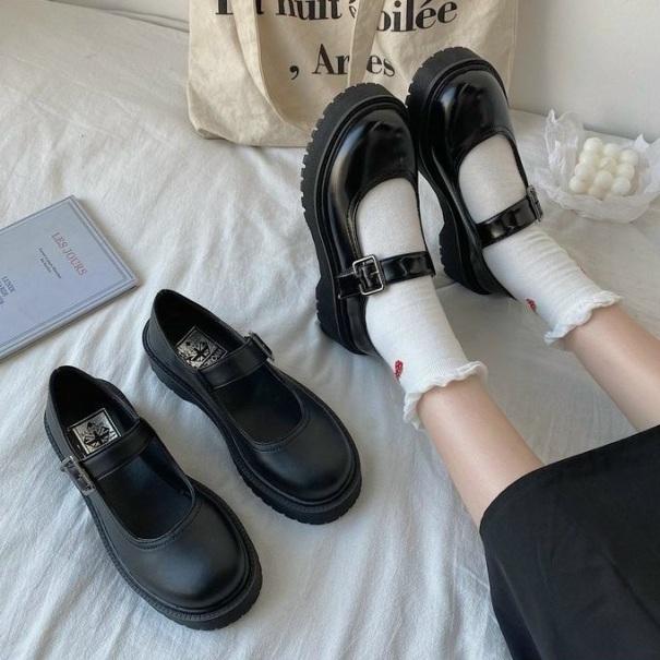 Giày Nữ Giày Độn Đế Cài Quai Phong Cách Lolita Chất Da Pu giá rẻ