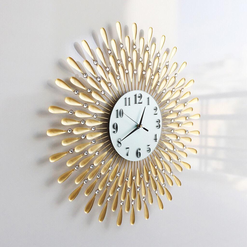 Đồng hồ treo tường pha lê vàng 13016060 loại lớn bán chạy
