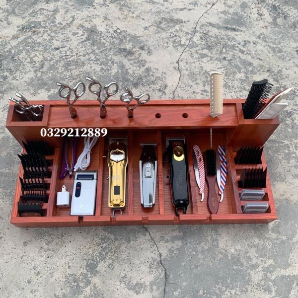 khay gỗ đựng tông đơ và đồ nghề làm tóc- 1 tầng- tông đơ cắt tóc- dụng cụ làm tóc ptc