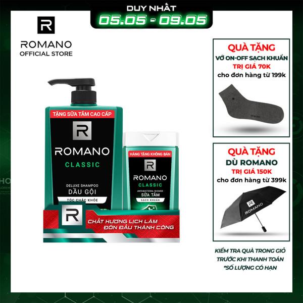 Dầu gội Romano 650g + Sữa tắm sạch khuẩn 150g nhập khẩu