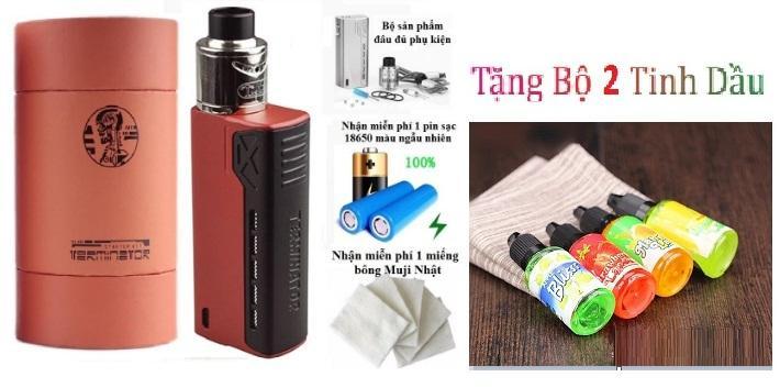 Bộ full combo thuốc la điện tử tesla 90w siêu smok giá rẻ model 2019 (Đỏ) + tặng kèm 1 cặp coil + bông + 3 lọ tinh dầu + 1 Pin chuyên dụng