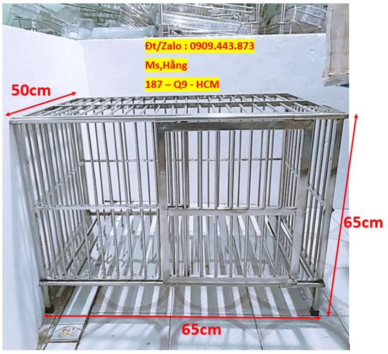 Chuồng Chó Inox Cao Cấp 65x50x65cm