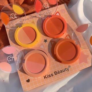 [BÁN LẺ]Phấn má hồng Kiss Beauty Two-Tone Blusher, Má hồng trang điểm dạng phấn tone màu siêu xinh, cực tiện lợi thumbnail