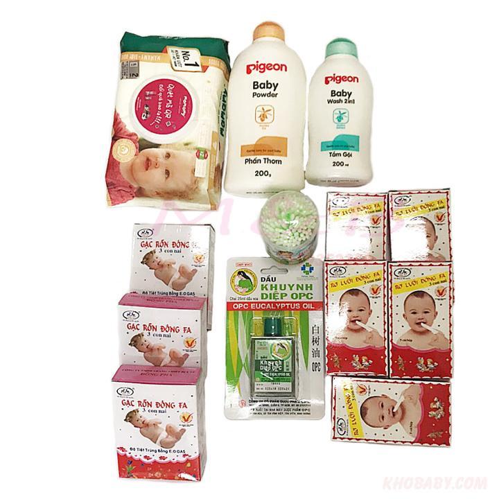 Combo bộ sơ sinh dầu  sữa tắm chuẩn bị cho mẹ đi sinh em bé Nhật Bản