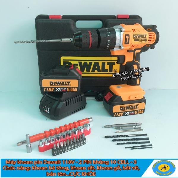 Máy khoan pin Dewalt 118v, 2 PIN, 100% dây đồng, Động cơ 775 siêu mạnh mẽ TẶNG 30 CHI TIẾT