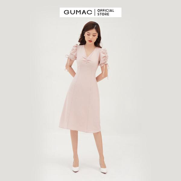 Nơi bán Váy đầm nữ đẹp dáng suông xòe nhẹ phối nhún ngực và tay thời trang GUMAC mẫu mới DB322