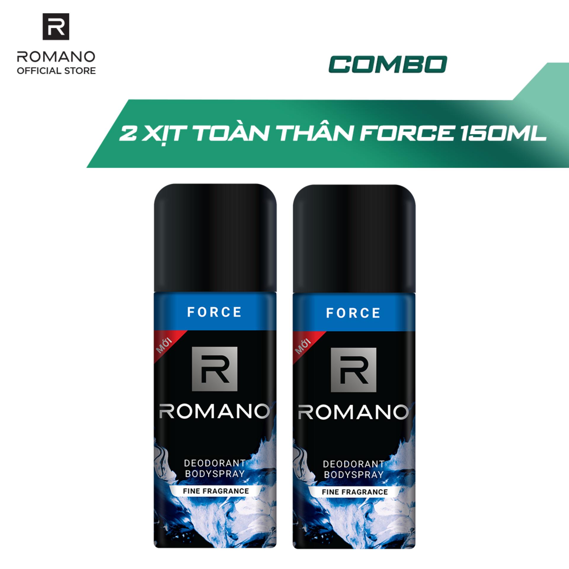 Combo 2 Xịt toàn thân Romano Force tươi mát năng động 150ml nhập khẩu