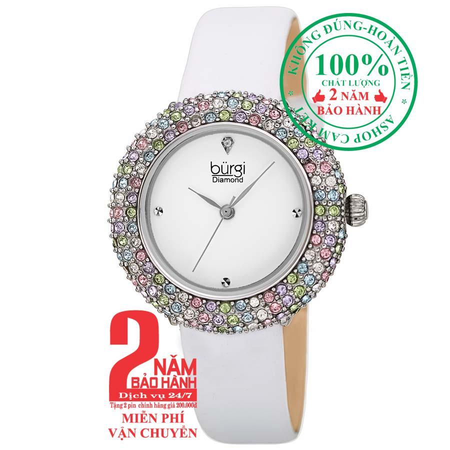 Đồng hồ nữ BURGI BUR227WT, Vỏ bạc (Silver), mặt Trắng (White), viền nạm pha lê Swarovski, dây da trắng (White) , size 33mm- BUR227WT bán chạy