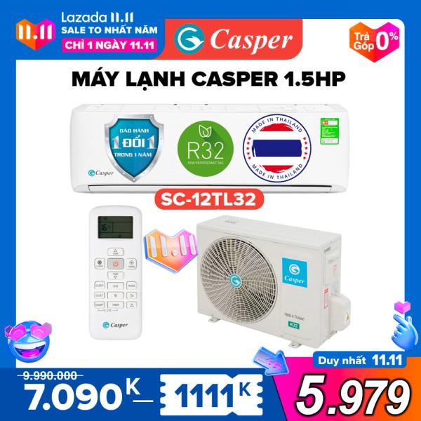 Máy Lạnh Casper 1.5HP - Model SC-12TL32 (Trắng) Dưới 20m2, Công Suất 12.000BTU, Gas R32, Đổi mới 1 năm, Nhập khẩu Thái Lan, Máy Lạnh Giá Rẻ Chất Lượng - Bảo Hành 3 Năm
