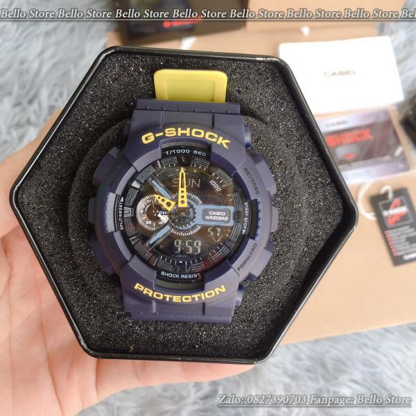 Đồng hồ thể thao nam G-Shock GA-110LN-2A ( XANH BÒ VÀNG) Có Baby-g và đôi nam nữ + Made in JAPAN, chống nước 200M, Tặng kèm pin dự phòng, Bảo hành 12 tháng - BELLO Store bán chạy