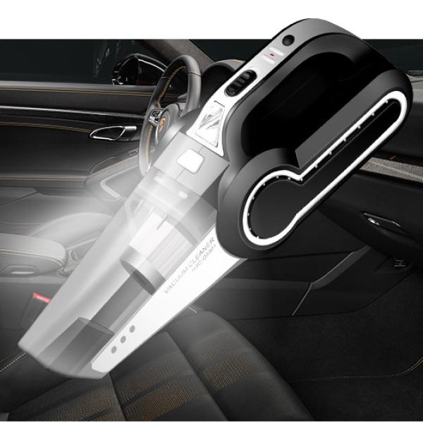 Bảo hành 12 tháng - Máy hút bụi xe hơi và trong nhà mini cầm tay, máy hút bụi đa năng 4 trong 1 có đèn, bơm xe, đo áp lốp - Sản phẩm cao cấp dùng bền