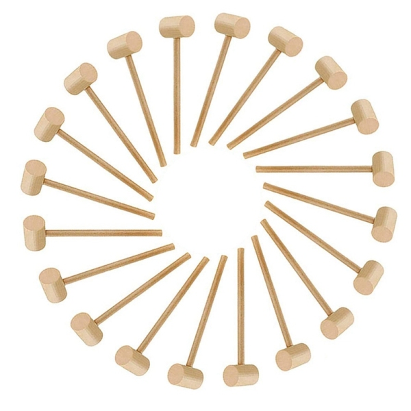 20Pcs Wooden Hammer Lobster Shellfish Crab Hardwood Mallet Gavel Toy for Boys Girls Leather Craft Jewelry Making