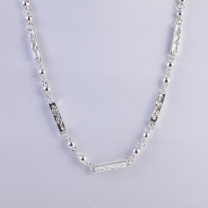 Dây chuyền/ Vòng cổ nam ống trúc bạc Thái S925 khắc rồng tinh tế