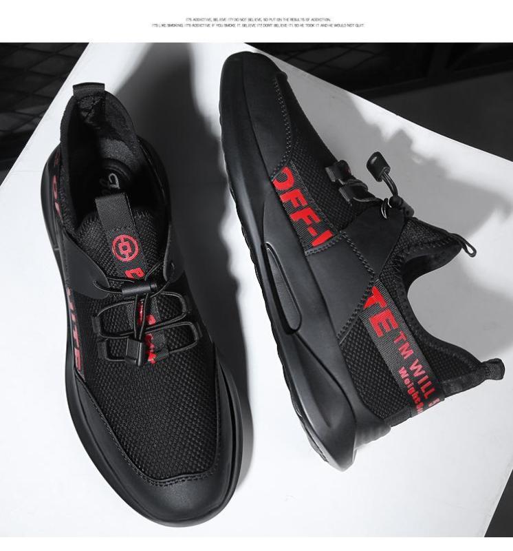 Giày Sneaker Nam Thể Thao BAZAS Y19-BR Đen Phối Đỏ