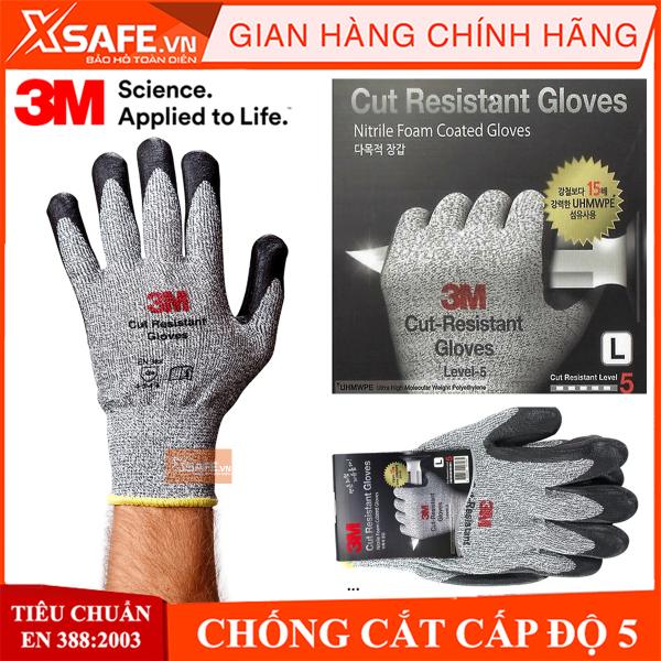 Găng tay chống cắt 3M cấp độ 5 độ khéo léo cao phủ nitril chống dầu nhớt bảo tay bảo hộ chuyên dụng cho cơ khí kỹ thuật làm việc với tôn sắt thủy tinh…