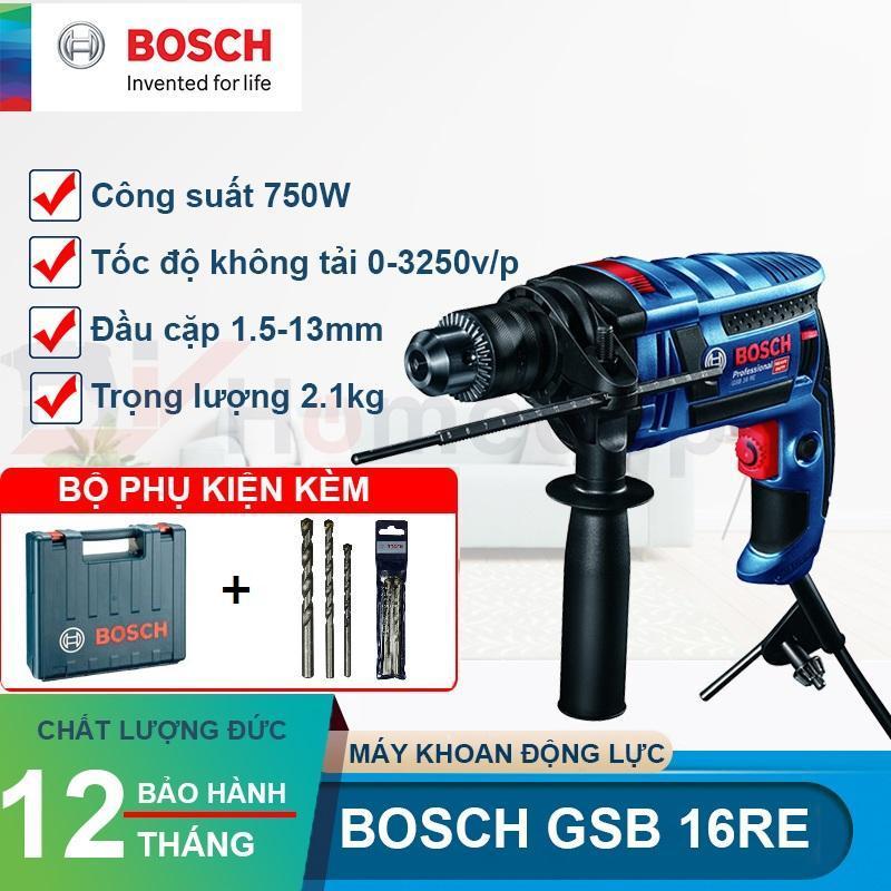 Máy khoan động lực Bosch GSB 16RE 750W (Xanh đen) Tặng 3 mũi khoan 6/8/10mm