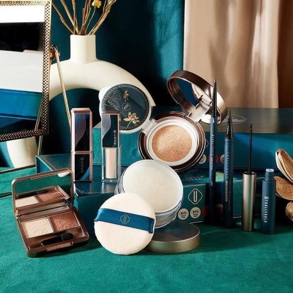[New Arrival] Bộ trang điểm 8 món Jade Face Beauty Tone Cam đất màu thuần Châu Á ,Hộp màu xanh lá đậm , Đẹp quý phái cao cấp