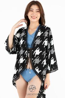 Áo khoác Kimono Nữ LMcation Mara - Hoa Văn Đen Trắng thumbnail