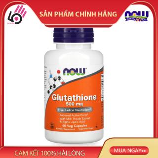 Viên Uống Trắng Da Glutathione 500 mg, with Milk Thistle Extract, Alpha Lipoic Acid, Free Radical Neutralizer Now Mỹ, 60 Viên thumbnail