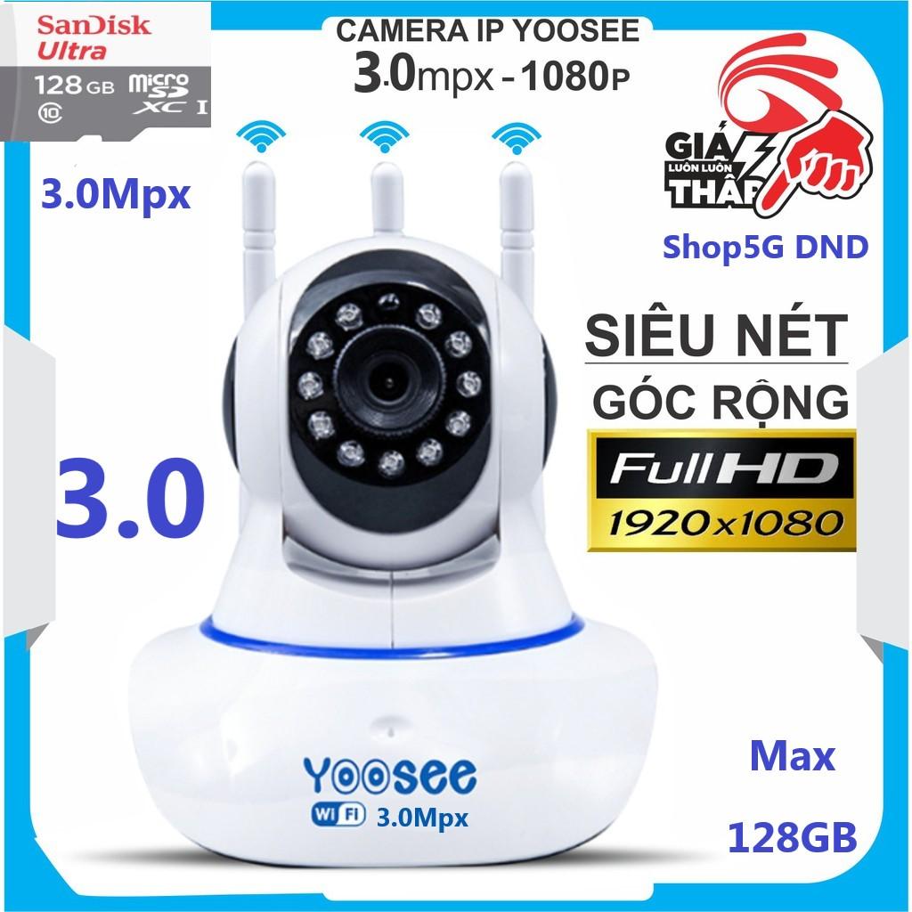 (KÈM Thẻ 128GB,.. Tự chọn) Camera IP Wifi Yoosee 3.0Mpx (Xanh) thế hệ mới, Râu xoay 360 độ, độ phân giải Full HD 1080P Không Dây, Camera trong nhà, Camera hồng ngoại tích hợp ghi âm, lưu trữ dữ liệu