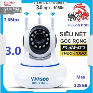 (KÈM The 128GB,.. Tự chọn) Camera IP Wifi Yoosee 3.0Mpx (Xanh) thế hệ mới, Râu xoay 360 độ, độ phân giải Full HD 1080P Không Dây, Camera trong nhà, Camera hồng ngoại tích hợp ghi âm, lưu trữ dữ liệu thumbnail