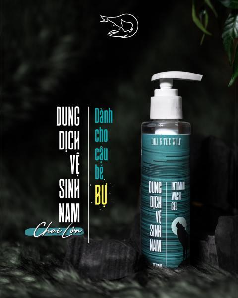 Chai lớn dung dịch vệ sinh nam Loli & The Wolf dạng gel thành phần tự nhiên dịu nhẹ cho vùng kín nam - chai vòi nhấn 150ml