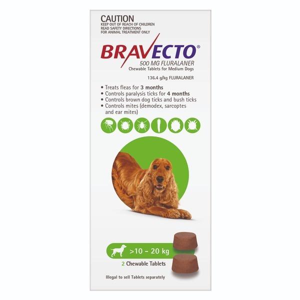 Bravecto Cho Cún 10-20kg - Phòng Ve, Rận, Bọ Chét, Ghẻ Demodex Trên Chó Lẻ Viên