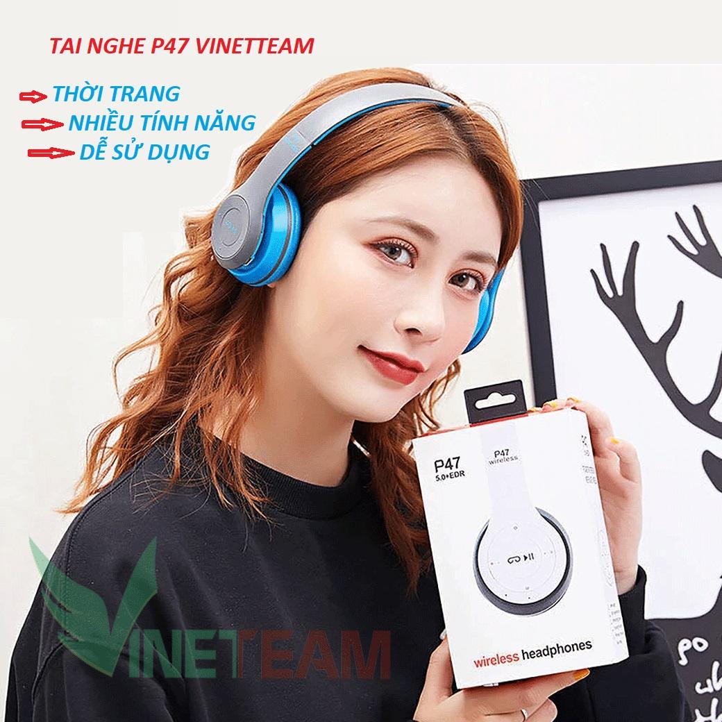 Tai nghe chụp tai bluetooth p47 có mic cao cấp có khe thẻ nhớ - Âm Thanh Đỉnh Cao - giá rẻ