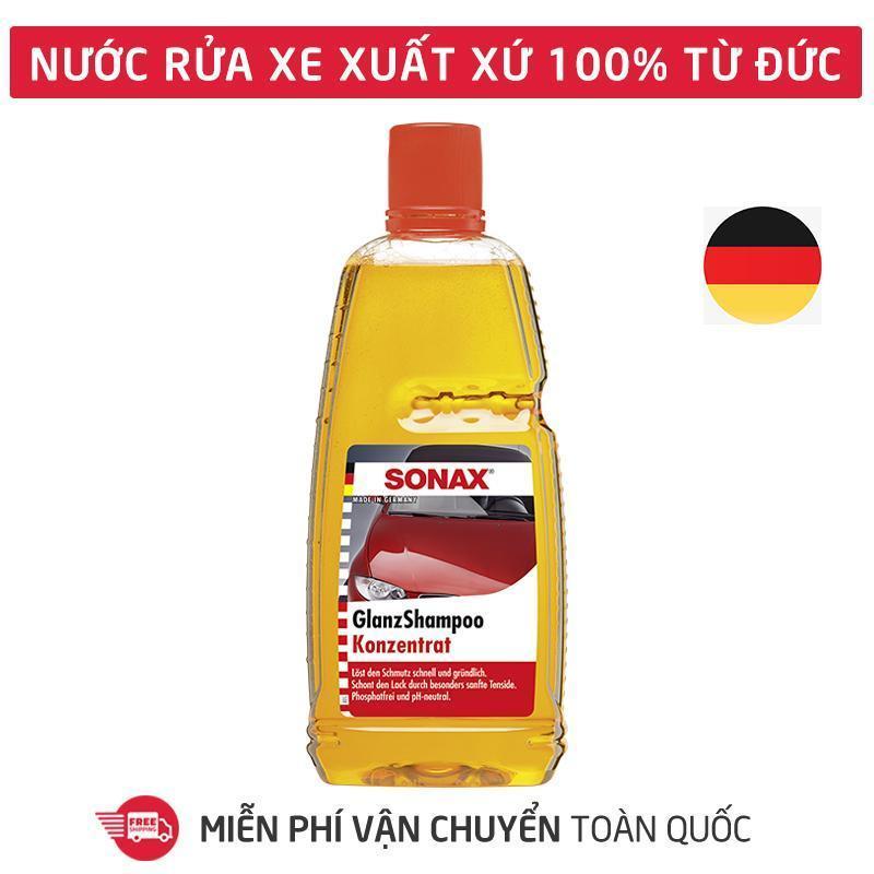 Dung dịch rửa xe,Nước rửa xe đậm đặc,chai dung dịch rửa và làm bóng xe hơi, ôtô, xe máy, honda, moto, xe tải, xe khách tạo bọt tuyết hương thơm Sonax Gloss Shampoo 1000ml_SN-314300