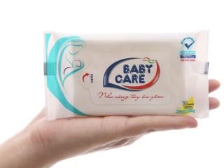 Khăn ướt Baby care kháng khuẩn 10 miếng - Hương phấn, lô hội dưỡng da ( màu tím) thumbnail