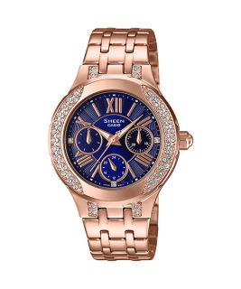 Đồng hồ nữ Casio SHEEN SHE-3809PG-2A Dây kim loại mặt xanh 6 kim độc đáo, thanh lịch thumbnail