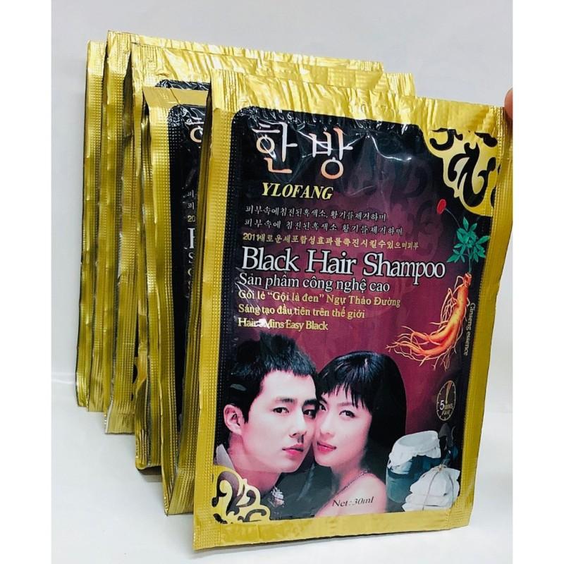 Combo 5 Gói Dầu Gội Nhuộm Đen Tóc Black Hair Shampoo Hàn Quốc, An Toàn Cho Da, Không Độc Hại, Đen Ngay Sau Lần Sử Dụng giá rẻ