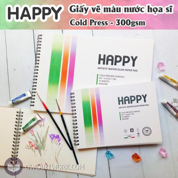 Mua Sổ Giấy Vẽ Màu Nước HAPPY Hạng Họa Sĩ - 300gsm