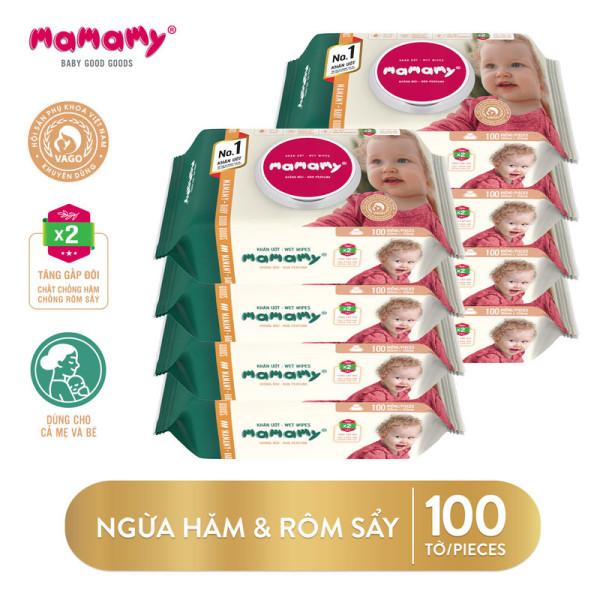 Combo 8 gói khăn ướt ngừa hăm, rôm sảy Mamamy 100 tờ/gói kháng khuẩn, an toàn cho trẻ sơ sinh