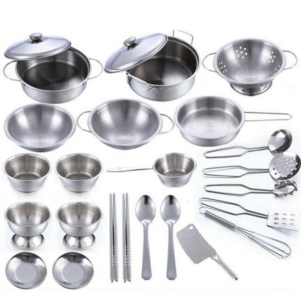 25Pcs/1Set Kids Play House Kitchen Toys Cookware Cooking Utensils Pots Pans Gift Singapore